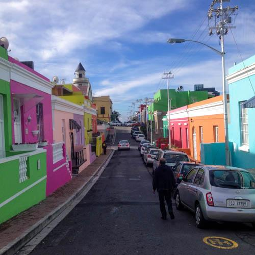The Bo-Kaap, one of Cape Town's colorful districts near the city center. Formerly known as the Malay Quarter, the Bo-Kaap is considered the historic cultural center of Cape Malay, the community of people who arrived in South Africa in the 17th century as