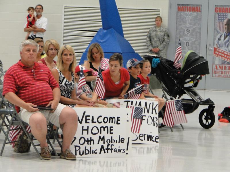 The 70th Mobile Public Affairs Unit attends a ceremony upon returning from a deployment to Afghanistan. The ceremony was in Jefferson City on June 3, 2014.