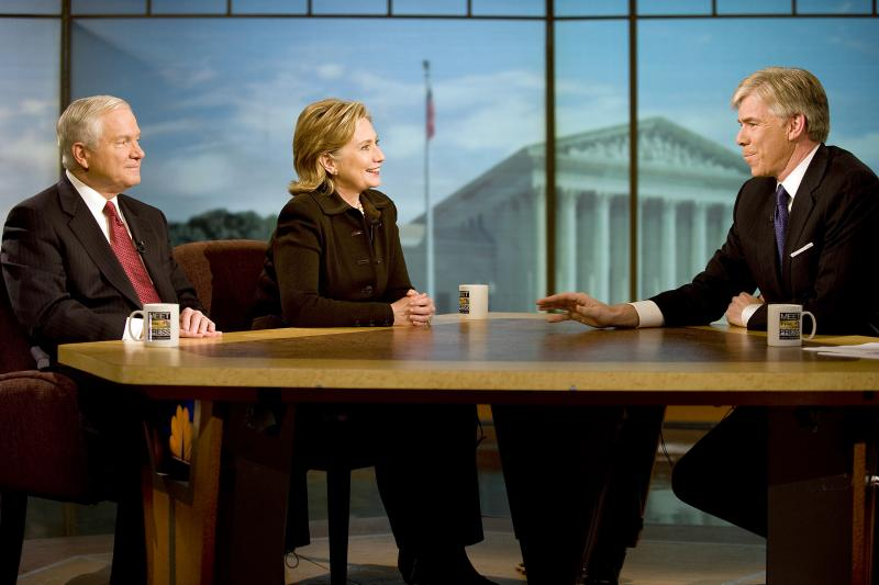 "Defense Secretary Robert M. Gates and Secretary of State Hillary Rodham Clinton talk with NBC's ""Meet the Press"" host David Gregory in Washington, D.C., Dec. 5, 2009"