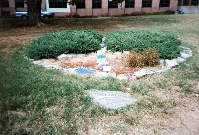 This memorial is dedicated to the four students killed at Kent State in 1970. Photo courtesy of MU Archives.
