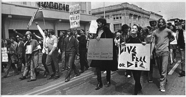 "Students march to show their frustrations with ""Business as Usual"" in 1971. Courtesy of The Savitar."