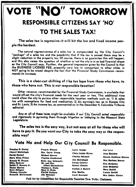 An ad in the Columbia Daily Tribune from 1970 encourages voters to vote no on an upcoming sales tax.