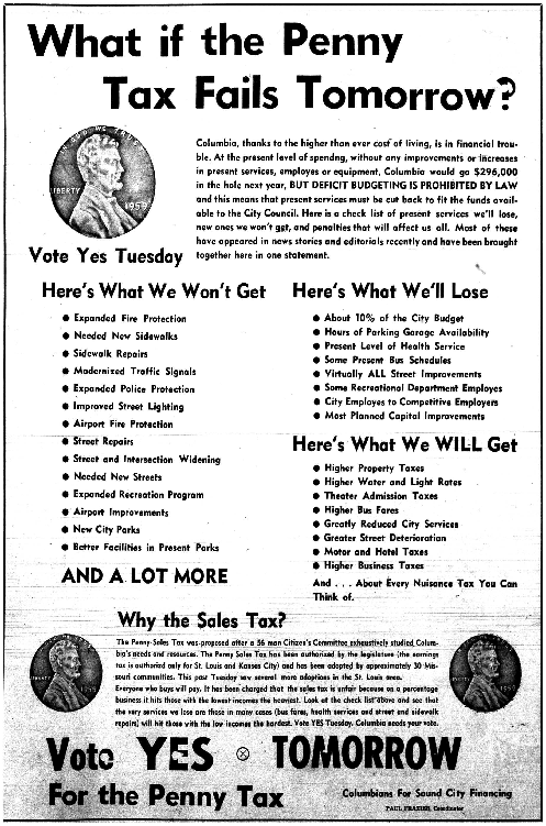 The Columbia Daily Tribune from 1970 has an ad urging voters to pass a one cent sales tax.