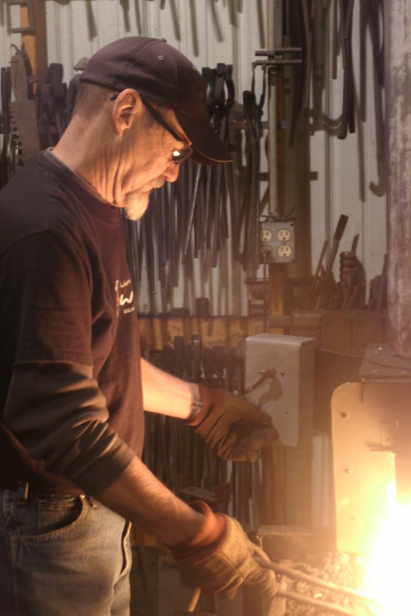 Master blacksmith Bernard Tappel heats stel at his forge near Osage Bend, Missouri. Tappel participates in the Traditional Arts Apprenticeship Program and is featured in this week's Thinking Out Loud.