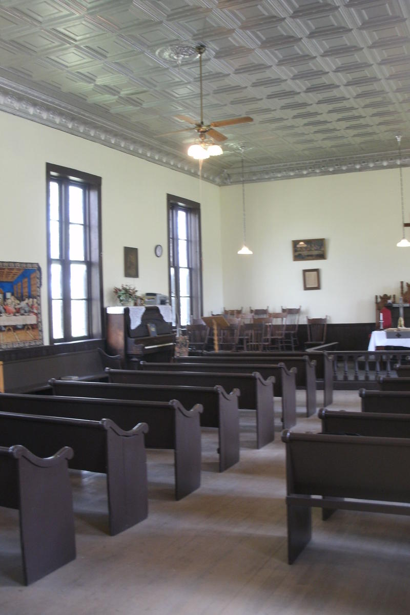 Original handmade pews, ceiling details and wood frame windows remain in Glasgow's Campbell Chapel AME Church. Aaron Gouge and a small army of volunteers have worked for over three years to preserve the formerly endangered building.