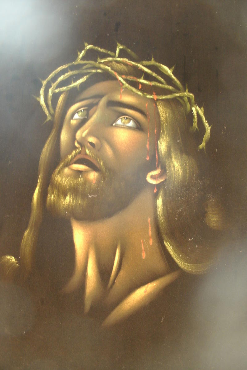A representation of Jesus on velvet hangs in Glasgow's Campbell Chapel AME Church.