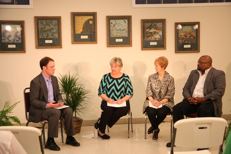(From left to right) Ryan Famuliner, Kim Hughes, Judith Haggard and Victor Wilburn discuss rural economics and health care access.