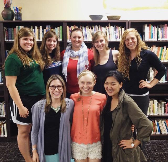 Top row from left: Delaney Tevis, Jett Ballou-Crawford, Clarissa Curry, Michaela Tucker and Kelsey Kupferer. Bottom row from left: Kathryn Fishman-Weaver, Sarah Freyermuth, Michele Yang.