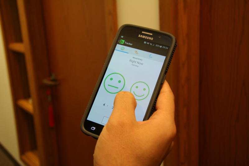 The MoodTrek app lets patients track their health and send data to their doctors.
