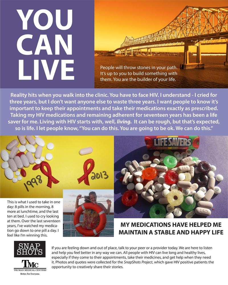 Deana Hayes created this poster out of the photos she took documenting her experience living with HIV during the SnapShots Project.