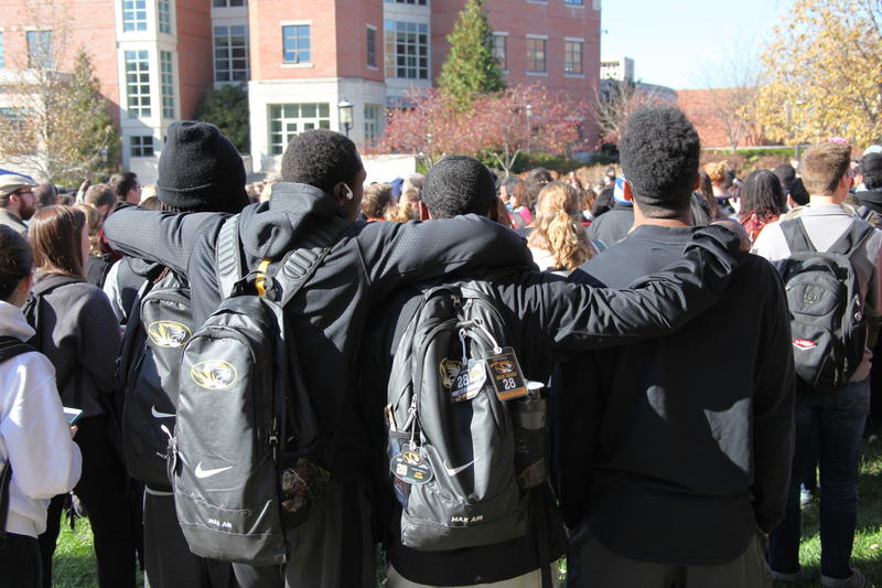 Mizzou football teamates joined in to support Concerned Student 1950.