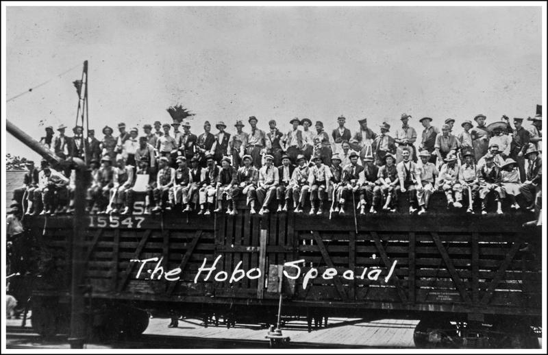MU freshman sit for a group photo in an early 20th century campus event known as Hobo Days.