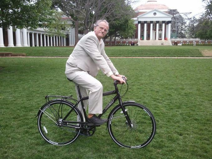 Seen bicycling across the lawn of Thomas Jefferson's Monticello is Peter Onuf. A guest on this week's Thinking Out Loud, Onuf is a regular contributor to Backstory, which airs Wednesday evenings at 7:00 and Sunday mornings at 6:00 on KBIA.