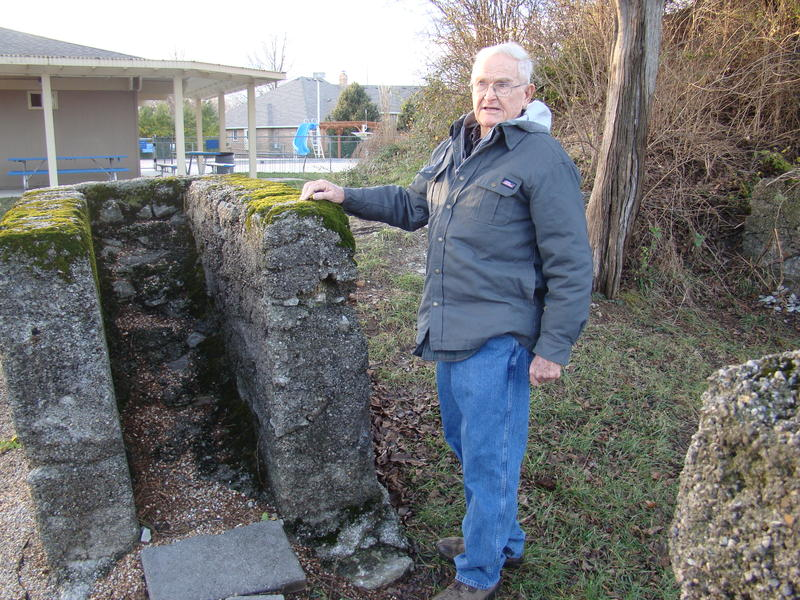 Milton Rafferty stands next to the ruins of a nineteenth century mining operation near his Springfield home. Rafferty's curiousity about his adopted Ozarks home led him to republish Henry Rowe Schooclraft's Ozark journal.
