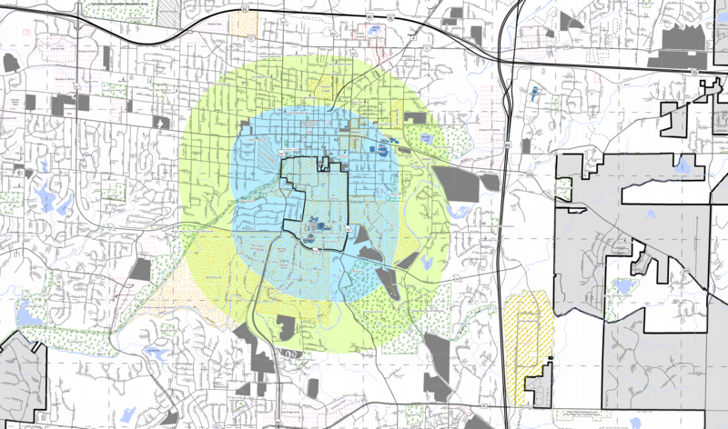 A map provided to Columbia City Council shows which areas will be affected by the ordinance. The boundaries of the delay extend through the green and blue regions, but the bold shape outlined in the center encloses MU property that won't be affected.