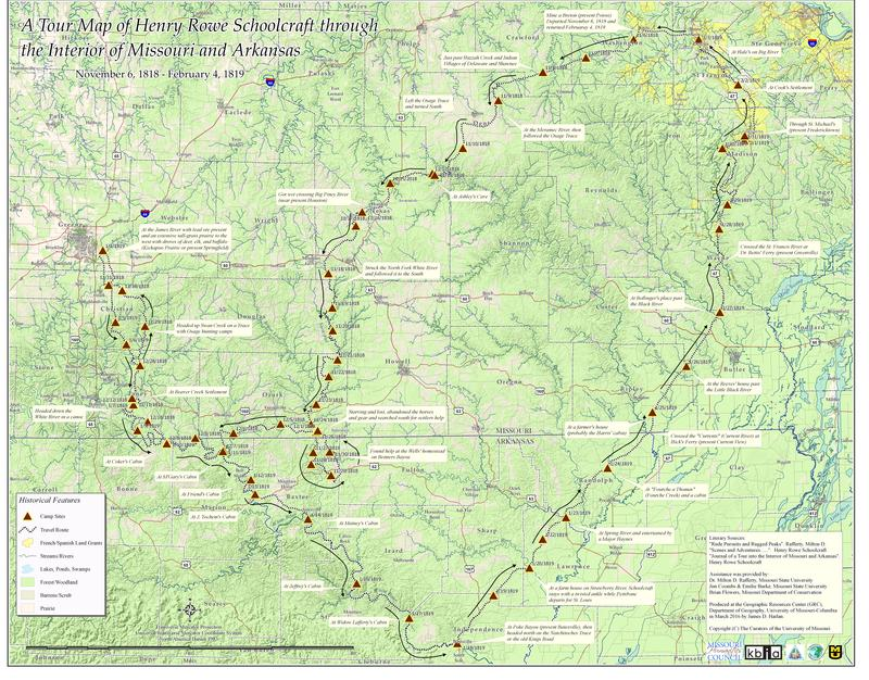The route Henry Rowe Schoolcraft took through Missouri. Farming and timber harvesting have dramatically changed the landscapes he saw. That is the theme of this series on KBIA.