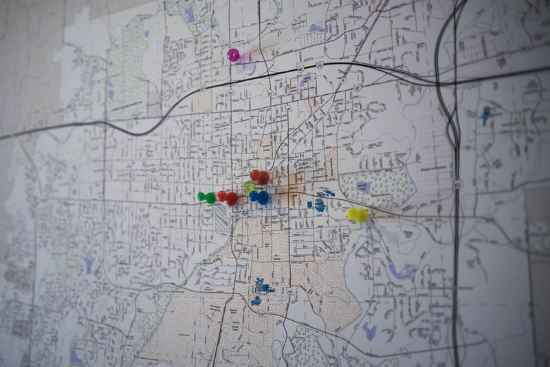 Pushpins on a map at the office of Boone County Democratic Party show where recent campaign events were held in Columbia, Missouri, on Monday, Oct. 17, 2016. Angie Wood, chair of the Boone County Democratic Party, said she doesn't know of any unopposed ca