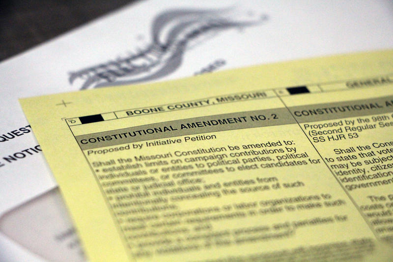 A 2016 Missouri sample ballot displays proposed Amendment 2 on Tuesday, Oct. 25, 2016 in Columbia, Missouri. The amendment would cap contributions to candidates at $2,600 and contributions to political parties at $25,000.
