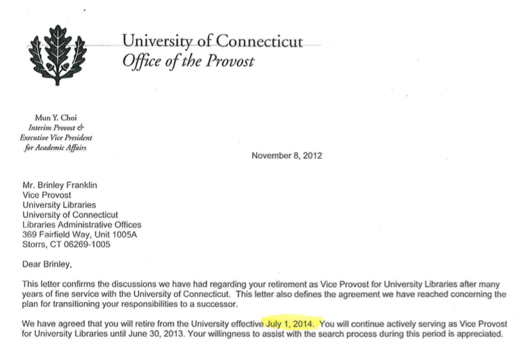 In November of 2012, Mun Choi signed off on an employment agreement tendering former vice provost of libraries Brinley Franklin's retirement. State auditors expressed concern that Franklin's transition out of office may have been handled improperly.