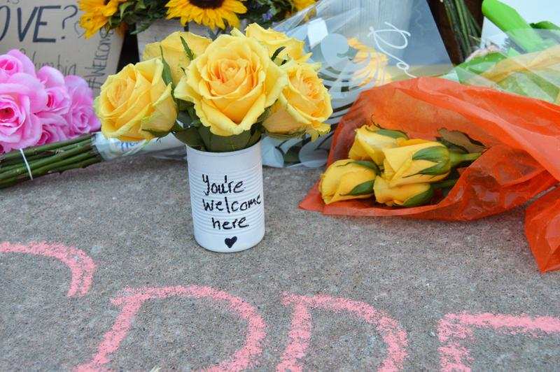 Community members left flowers and messages outside the Islamic Center of Central Missouri on Sunday, January 29, 2016.