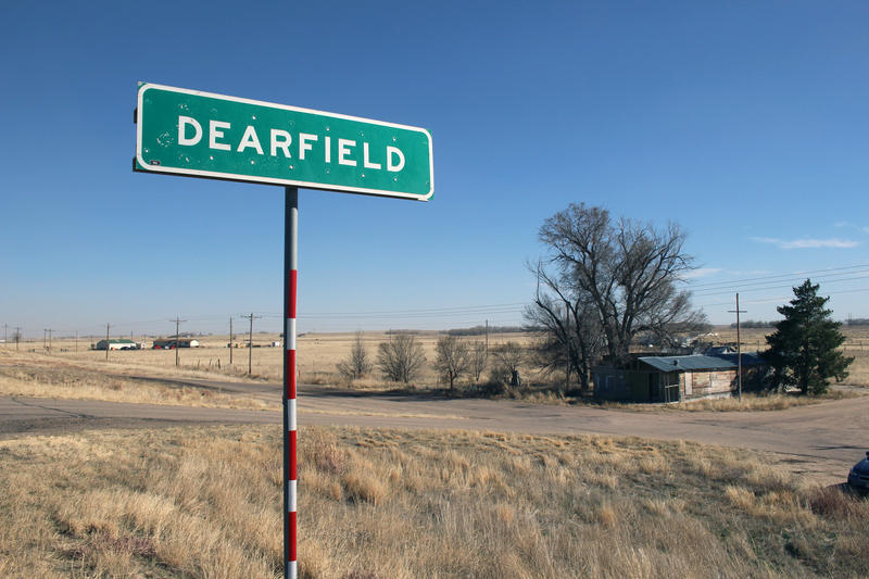 A marker on Highway 34, east of Greeley, Colorado, shows where the African-American farming community of Dearfield once existed.