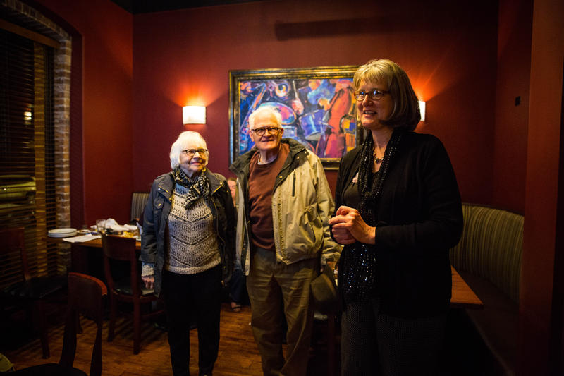 Pat Kelly (right) hosted a watch party to see her election results on April 4, 2017