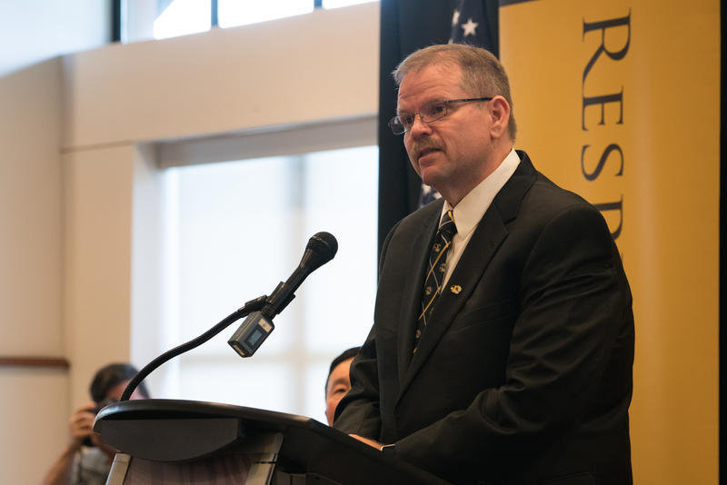 MU Chancellor Designate Cartwright addresses the crowd at his announcement Wednesday.