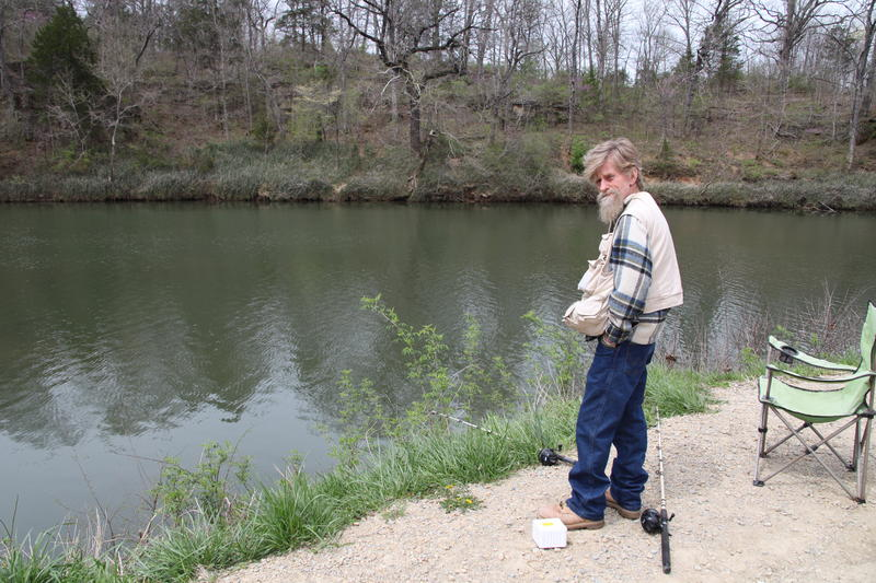 Gary Sanders fishes the Big River outside of Desloge, Missouri.