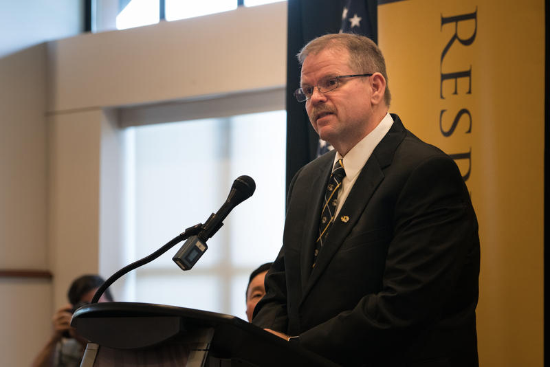 University of Missouri Chancellor Alexander Cartwright delivers a speech at his May 2017 introduction.
