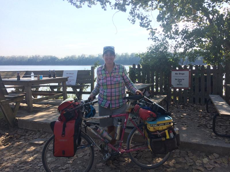 Sara Dykman with her bike at Cooper's Landing.