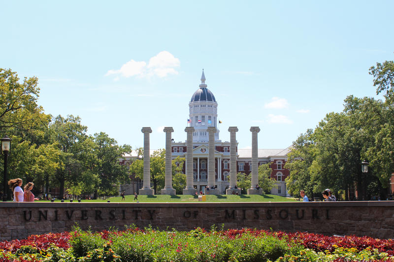 The six independently standing columns in front of Jesse Hall serve as a major landmark at the University of Missouri.