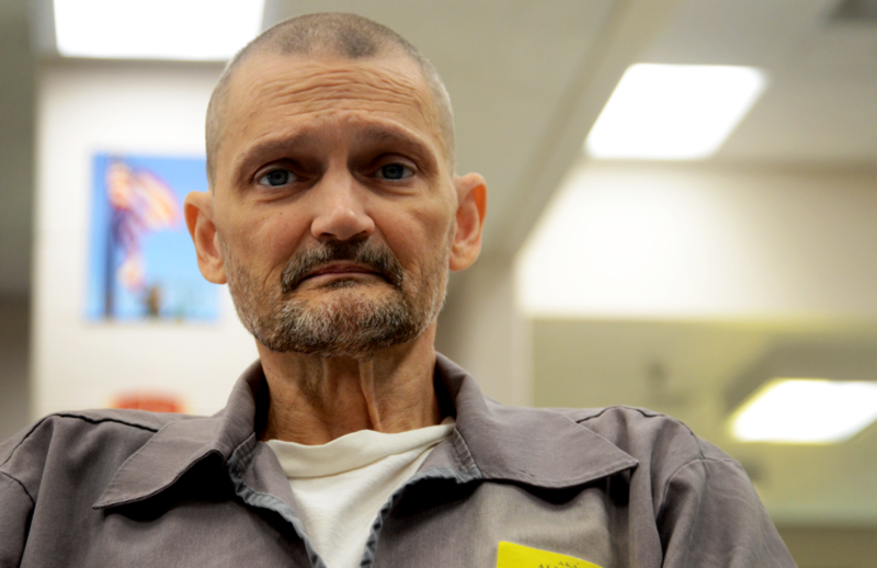 Joel Allred is waiting inside of a prison visiting room in the Jefferson City Correctional Center in Jefferson City, Missouri on Nov. 21, 2017. Allred is one of the prison's aging offenders who has a terminal illness and will spend their final days behind