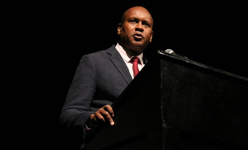 Keynote speaker Kevin Powell tells the audience that America needs to do a better job educating students on African-American history at an event honoring community leaders in diversity and inclusion on Monday, Jan. 11 in Columbia, Missouri.