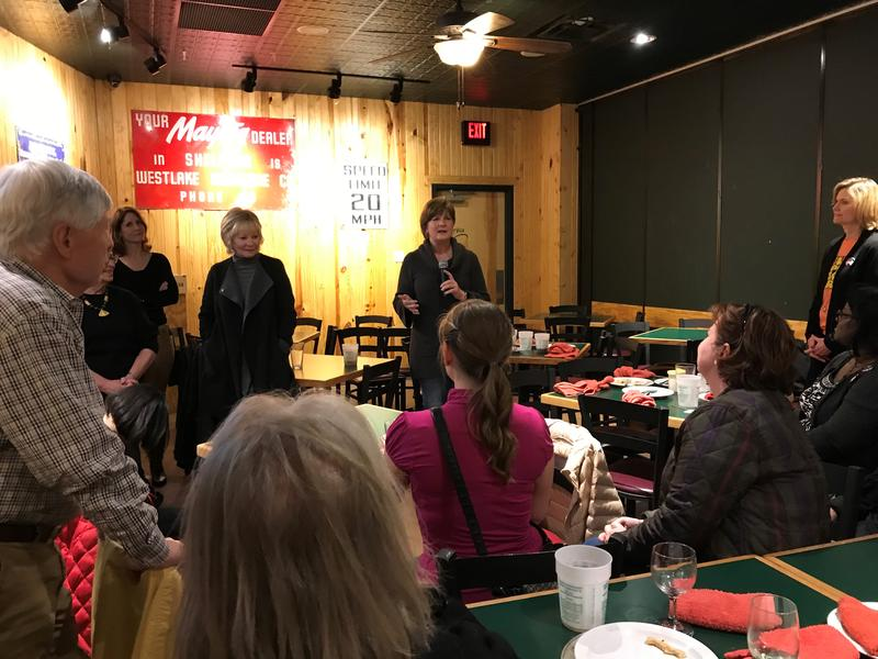 Teresa Maledy speaks to supporters during her watch party for the Municipal Election on April 3, 2018.
