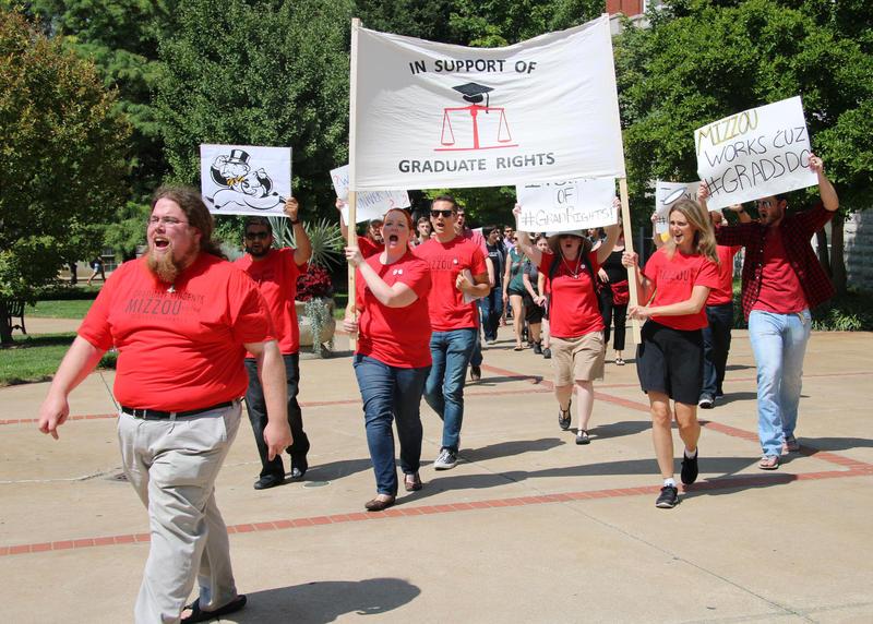 Student protestors march.
