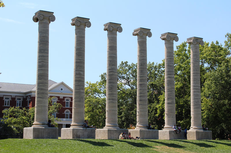 The columns in front of Jesse Hall at the University of Missouri.
