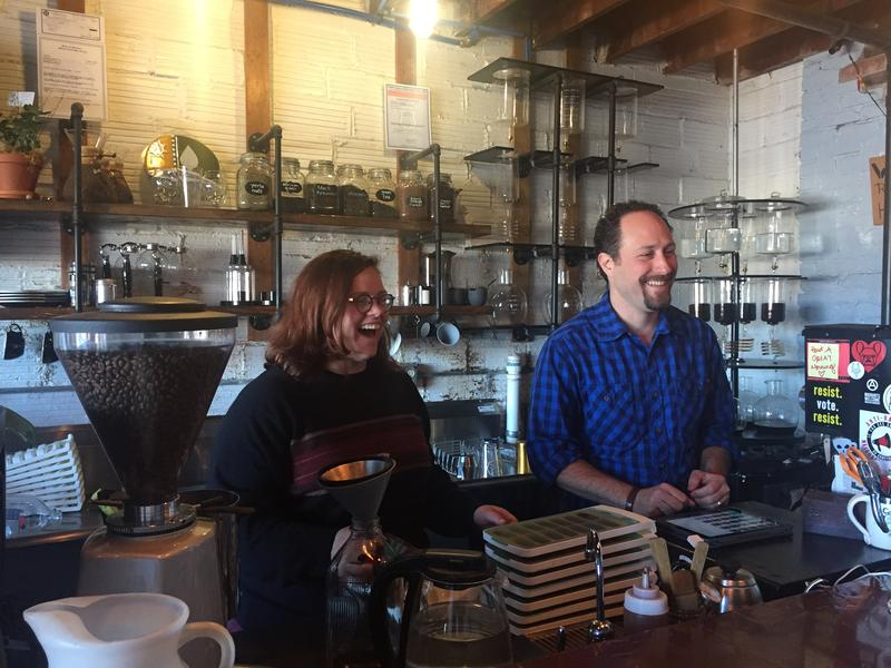 Barista Sarah Fuller and owner of Fretboard Coffee Dave Elman.