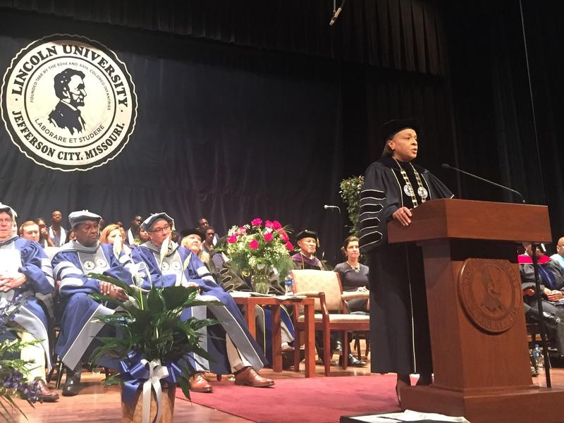 20th President of Lincoln University Jerald Jones Woolfolk addresses the crowd at her inauguration ceremony on Oct. 5, 2018