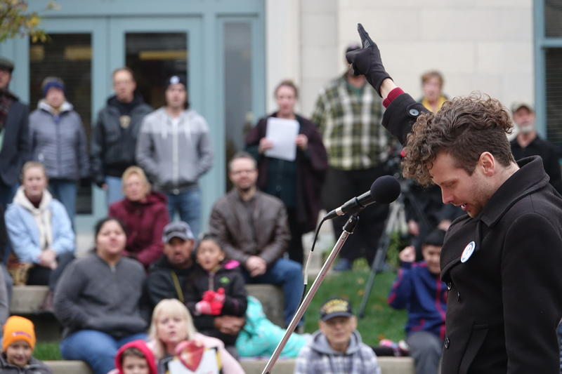 Kory Davis, chair of Our Revolution: Mid-Missouri, spoke during the Rally for Sanity event on Thursday, Nov. 1, 2018 in Columbia, MO. Our Revolution: Mid-Missouri was one of the sponsors of the event along with Boone County Democrats and CoMo for Progress