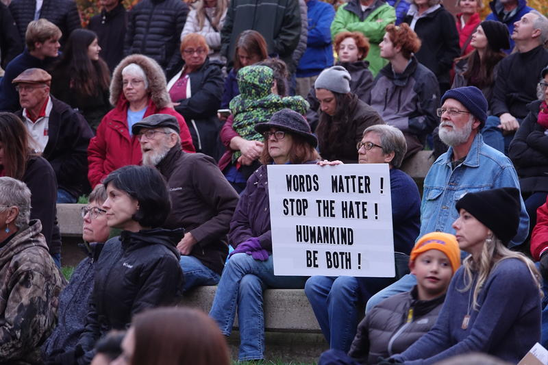 Protesters attended the Rally for Sanity outside of the Boone County Court House in Columbia, MO on Thursday, Nov. 1, 2018. The rally was held 20 minutes away from President Trump's rally at the Columbia Regional Airport to create a safe space for those a