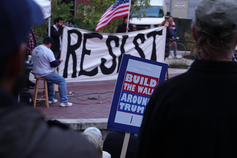 """Protesters at the Rally for Sanity in Columbia, MO came armed with protest signs but listened attentively to the speakers on Thursday, Nov. 1, 2018. Signs included: """"Build the wall around Trump, Bogus POTUS and Tuck Frump."""""""