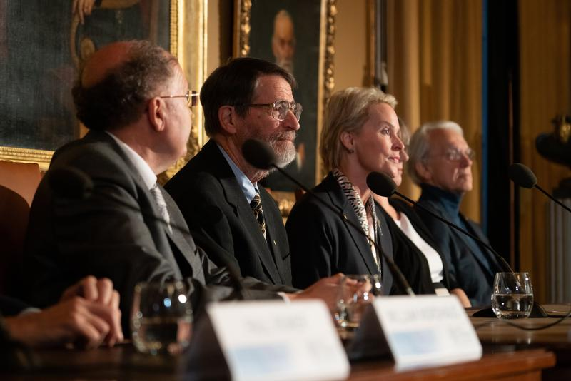 MU Professor George Smith spoke at a Stockholm press event Friday alongside fellow laureates of the 2018 Nobel Prize in Chemistry Greg Winter and Frances Arnold.