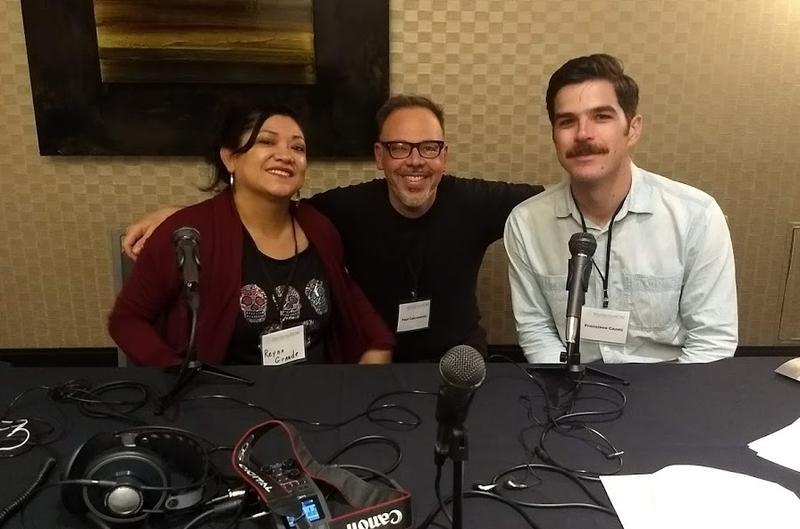 Authors Reyna Grande (left) and Francisco Cantu (right) with host Paul Zakrzewski at NonfictionNow in Phoenix, November 2018.