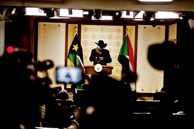 President Salva Kiir Mayadrit wipes sweat from his brow at a pre-independence press conference.