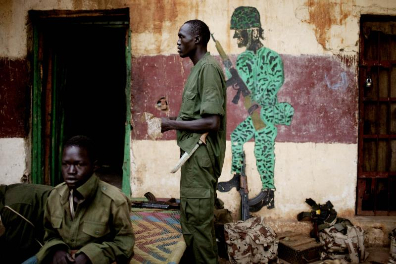 Rebel fighters belonging to the Sudan People's Liberation Movement stand north of the new border in Blue Nile State.