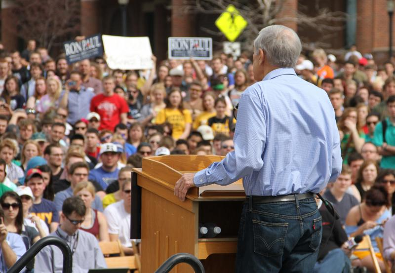 A large crowd looks on as Presidential candidate Ron Paul makes a speech on the south end of the David R. Francis Quadrangle on the University of Missouri campus on Thursday, March 15, 2012. Over 1,000 people attended the event.