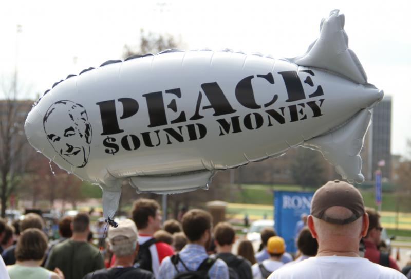 A balloon with a Ron Paul slogan on it floats in the crowd as Presidential candidate Ron Paul makes a speech on the south end of the David R. Francis Quadrangle on the University of Missouri campus on Thursday, March 15, 2012.