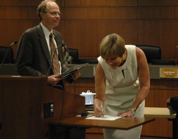 Councilmember Helen Anthony is sworn into office on Monday April 10th, 2011.