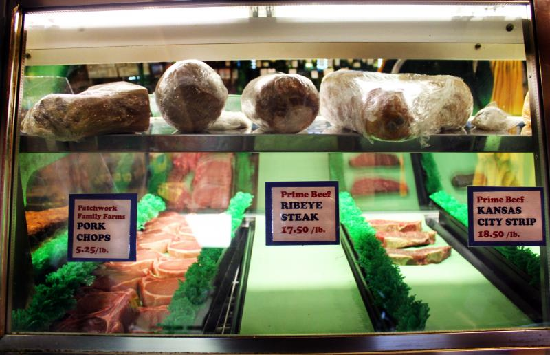 Koetting sells choice cuts of meat for to-go orders and catering events -- two services that might increase in price in order to combat price spikes in beef. (Jessica Naudziunas/Harvest Public Media)