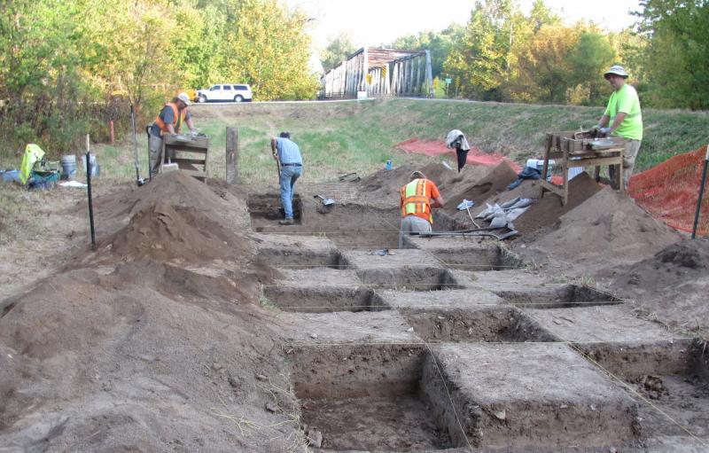 Missouri Department of Transportation archaeologists excavate a site, Oct. 5, 2011, near Route 168 in Marion County.